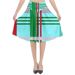 Christmas Plaid Backgrounds Plaid Flared Midi Skirt by Celenk