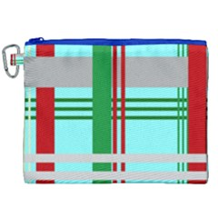 Christmas Plaid Backgrounds Plaid Canvas Cosmetic Bag (xxl)