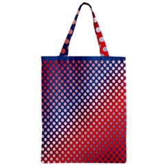 Dots Red White Blue Gradient Zipper Classic Tote Bag by Celenk