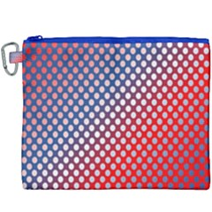 Dots Red White Blue Gradient Canvas Cosmetic Bag (xxxl) by Celenk