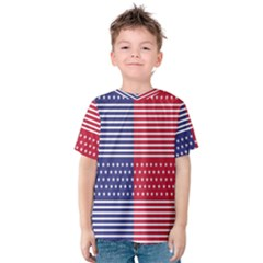 American Flag Patriot Red White Kids  Cotton Tee by Celenk