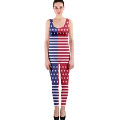 American Flag Patriot Red White Onepiece Catsuit by Celenk