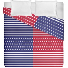 American Flag Patriot Red White Duvet Cover Double Side (king Size) by Celenk