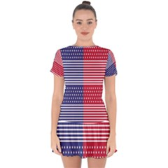 American Flag Patriot Red White Drop Hem Mini Chiffon Dress by Celenk