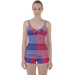 American Flag Patriot Red White Tie Front Two Piece Tankini by Celenk