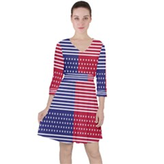 American Flag Patriot Red White Ruffle Dress by Celenk