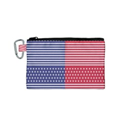 American Flag Patriot Red White Canvas Cosmetic Bag (small) by Celenk