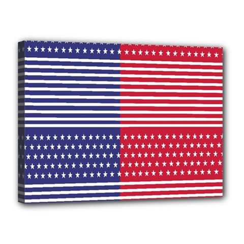 American Flag Patriot Red White Canvas 16  X 12  by Celenk