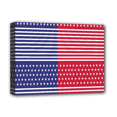 American Flag Patriot Red White Deluxe Canvas 16  X 12   by Celenk