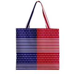 American Flag Patriot Red White Zipper Grocery Tote Bag by Celenk