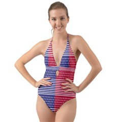 American Flag Patriot Red White Halter Cut-out One Piece Swimsuit by Celenk