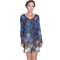 Cube Cubic Design 3d Shape Square Long Sleeve Nightdress by Celenk