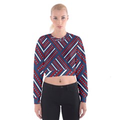 Patriotic Red White Blue Stars Cropped Sweatshirt by Celenk