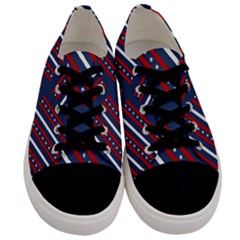 Patriotic Red White Blue Stars Men s Low Top Canvas Sneakers
