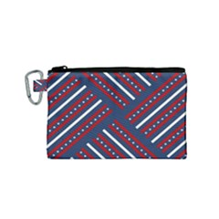 Patriotic Red White Blue Stars Canvas Cosmetic Bag (small)