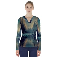 Yosemite Park Landscape Sunrise V Neck Long Sleeve Top