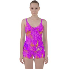 Spring Tropical Floral Palm Bird Tie Front Two Piece Tankini