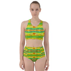 Birds Beach Sun Abstract Pattern Racer Back Bikini Set