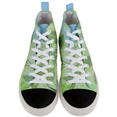Green Leaves Background Scrapbook Men s Mid Top Canvas Sneakers