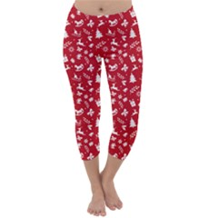 Red Christmas Pattern Capri Winter Leggings