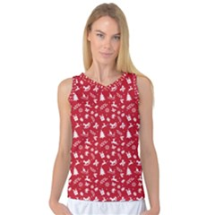 Red Christmas Pattern Women s Basketball Tank Top by patternstudio