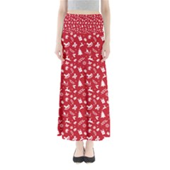 Red Christmas Pattern Full Length Maxi Skirt by patternstudio