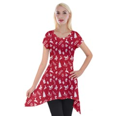 Red Christmas Pattern Short Sleeve Side Drop Tunic