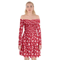 Red Christmas Pattern Off Shoulder Skater Dress