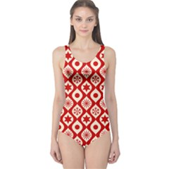 Ornate Christmas Decor Pattern One Piece Swimsuit by patternstudio