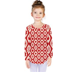 Ornate Christmas Decor Pattern Kids  Long Sleeve Tee