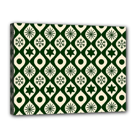 Green Ornate Christmas Pattern Canvas 16  X 12  by patternstudio