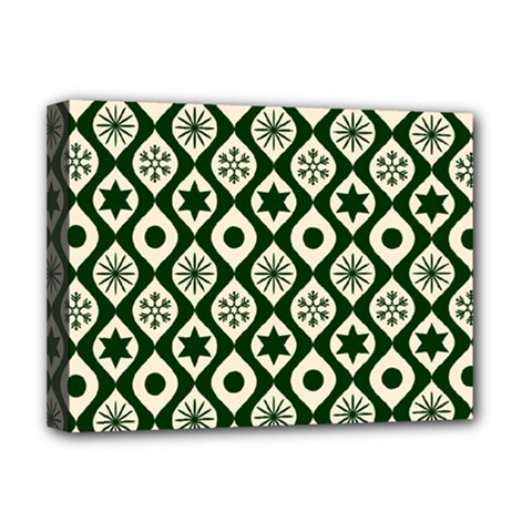 Green Ornate Christmas Pattern Deluxe Canvas 16  X 12   by patternstudio