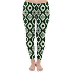 Green Ornate Christmas Pattern Classic Winter Leggings
