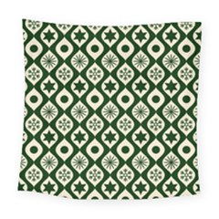 Green Ornate Christmas Pattern Square Tapestry (large) by patternstudio