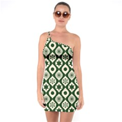 Green Ornate Christmas Pattern One Soulder Bodycon Dress