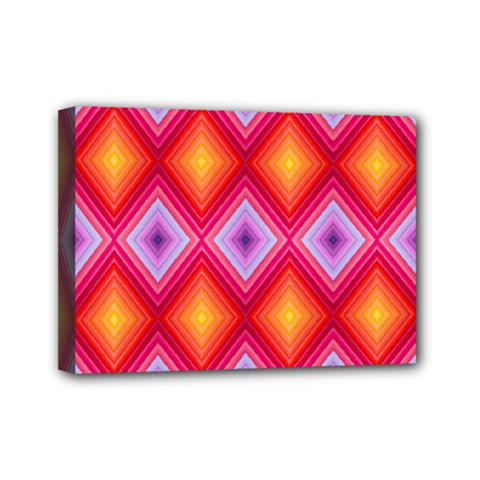 Texture Surface Orange Pink Mini Canvas 7  X 5