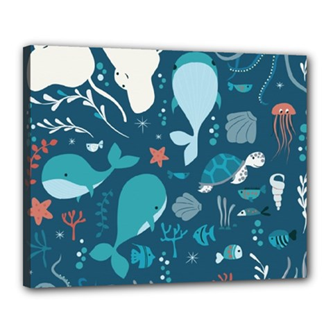 Cool Sea Life Pattern Canvas 20  X 16  by allthingseveryday