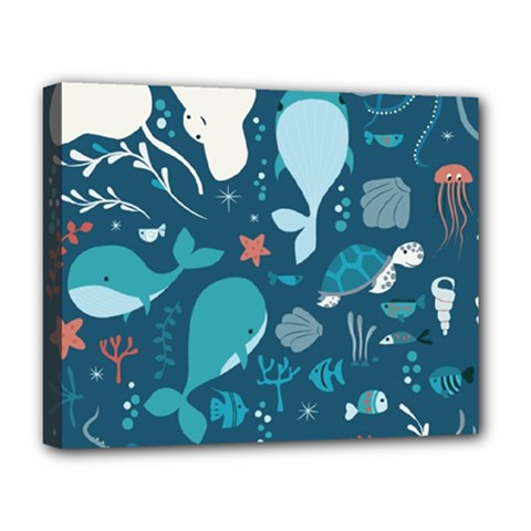 Cool Sea Life Pattern Deluxe Canvas 20  X 16   by allthingseveryday