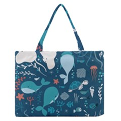 Cool Sea Life Pattern Zipper Medium Tote Bag by allthingseveryday