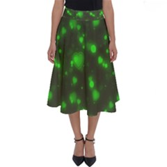 Neon Green Bubble Hearts Perfect Length Midi Skirt by PodArtist