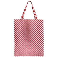 Sexy Red And White Polka Dot Zipper Classic Tote Bag