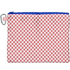 Sexy Red And White Polka Dot Canvas Cosmetic Bag (xxxl) by PodArtist
