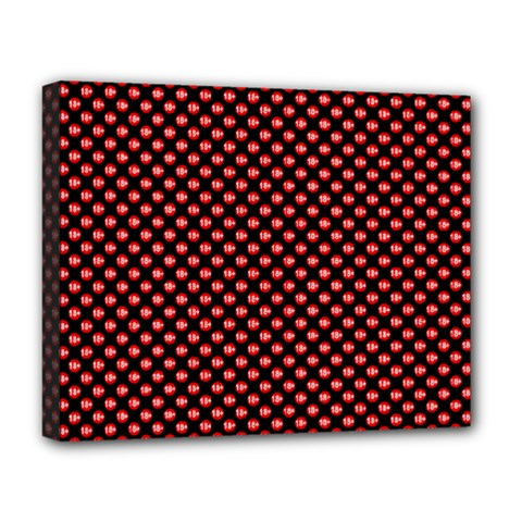 Sexy Red And Black Polka Dot Deluxe Canvas 20  X 16   by PodArtist