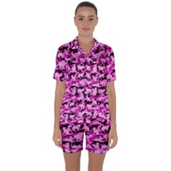 Hot Pink Catmouflage Camouflage Satin Short Sleeve Pyjamas Set