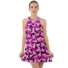 Hot Pink Catmouflage Camouflage Halter Tie Back Chiffon Dress