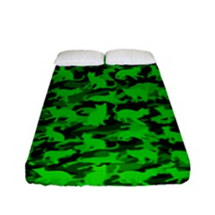 Bright Neon Green Catmouflage Fitted Sheet (full/ Double Size) by PodArtist