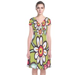 Flowers Fabrics Floral Design Short Sleeve Front Wrap Dress by Celenk