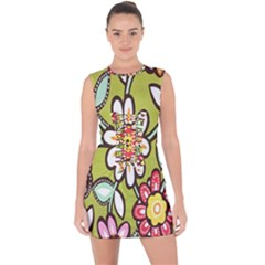 Flowers Fabrics Floral Design Lace Up Front Bodycon Dress