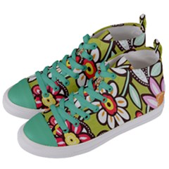 Flowers Fabrics Floral Design Women s Mid Top Canvas Sneakers by Celenk