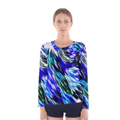 Abstract Background Blue White Women s Long Sleeve Tee